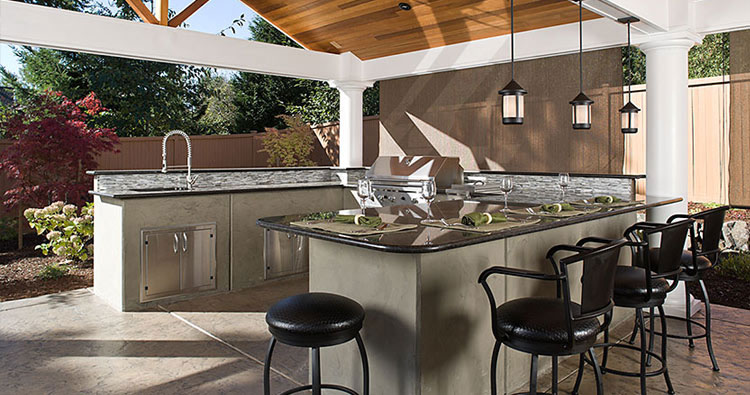 outdoor kitchen and outdoor entertaining room landscaping hardscaping design and construction by urban oasis llc near seattle bellevue wa