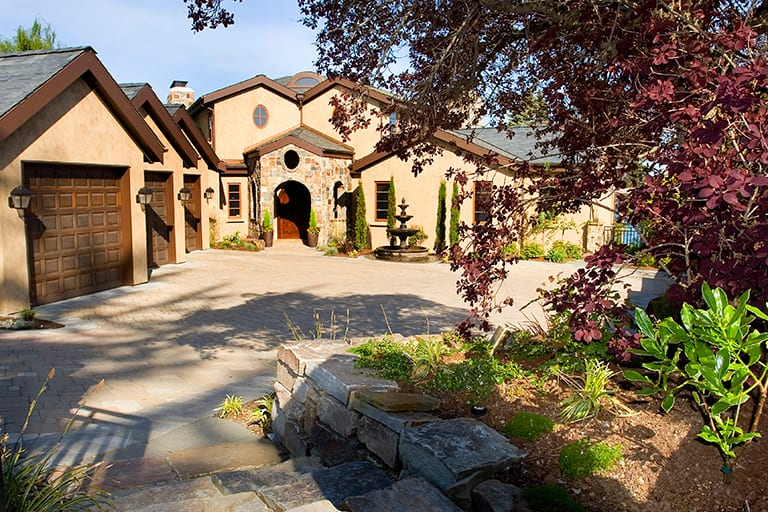 landscape Architecture with stone steps, stone walkway and drive way